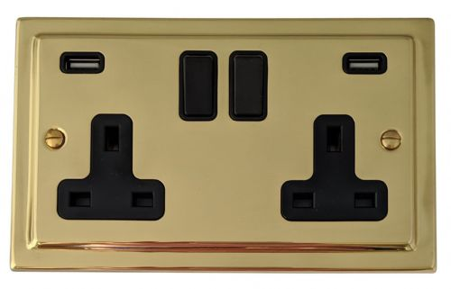 G&H TB910B Trimline Plate Polished Brass 2 Gang Double 13A Switched Plug Socket 2.1A USB